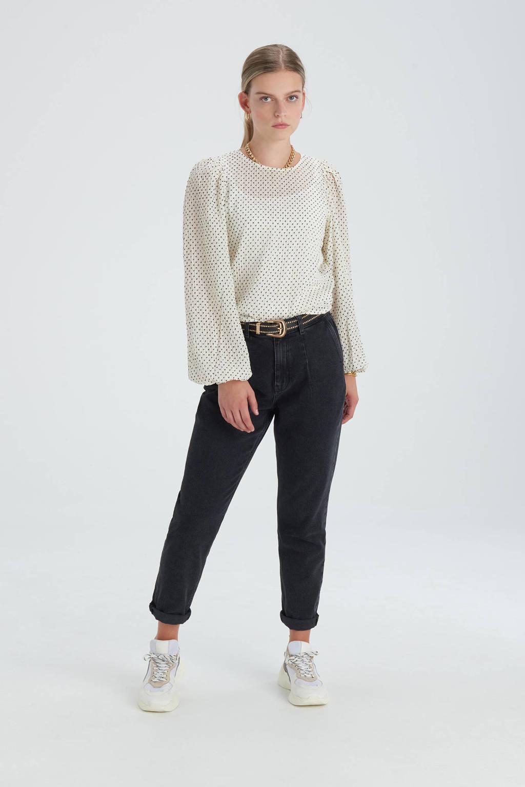 Shoeby Eksept high waist tapered fit jeans Emma zwart, Zwart