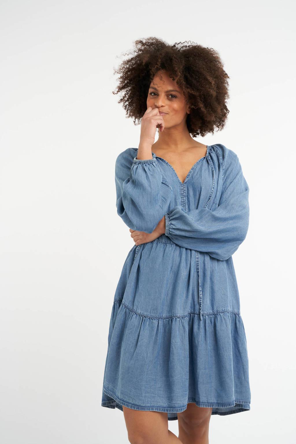 MS Mode trapeze jurk met plooien light denim, Light denim