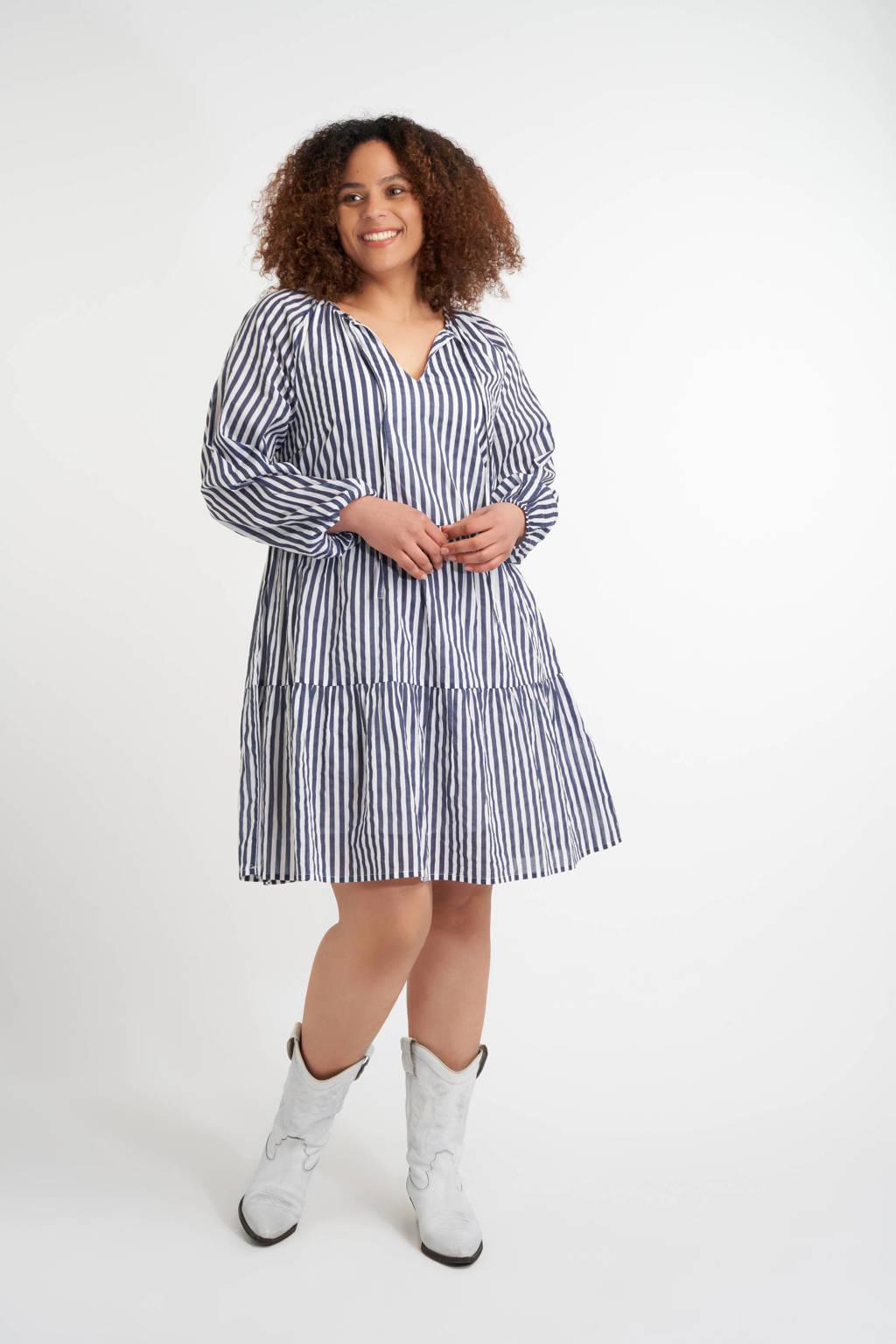 MS Mode gestreepte trapeze jurk wiit/donkerblauw, Wiit/donkerblauw