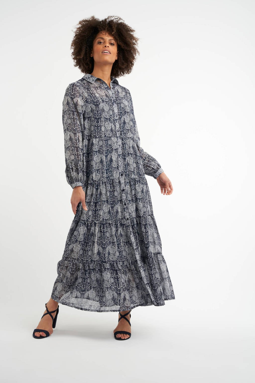 MS Mode semi-transparante maxi blousejurk met all over print en glitters donkerblauw/wit, Donkerblauw/wit