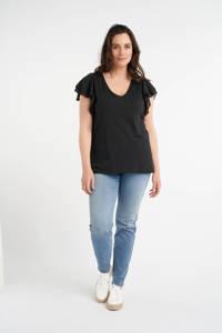 MS Mode geweven top met volant zwart, Zwart