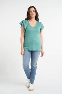 MS Mode geweven top met volant turquoise, Turquoise