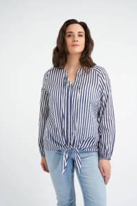 MS Mode gestreepte top wit/donkerblauw, Wit/donkerblauw