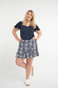 MS Mode skort met volant donkerblauw/wit, Donkerblauw/wit