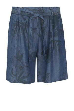 loose fit short met bladprint donkerblauw/zwart