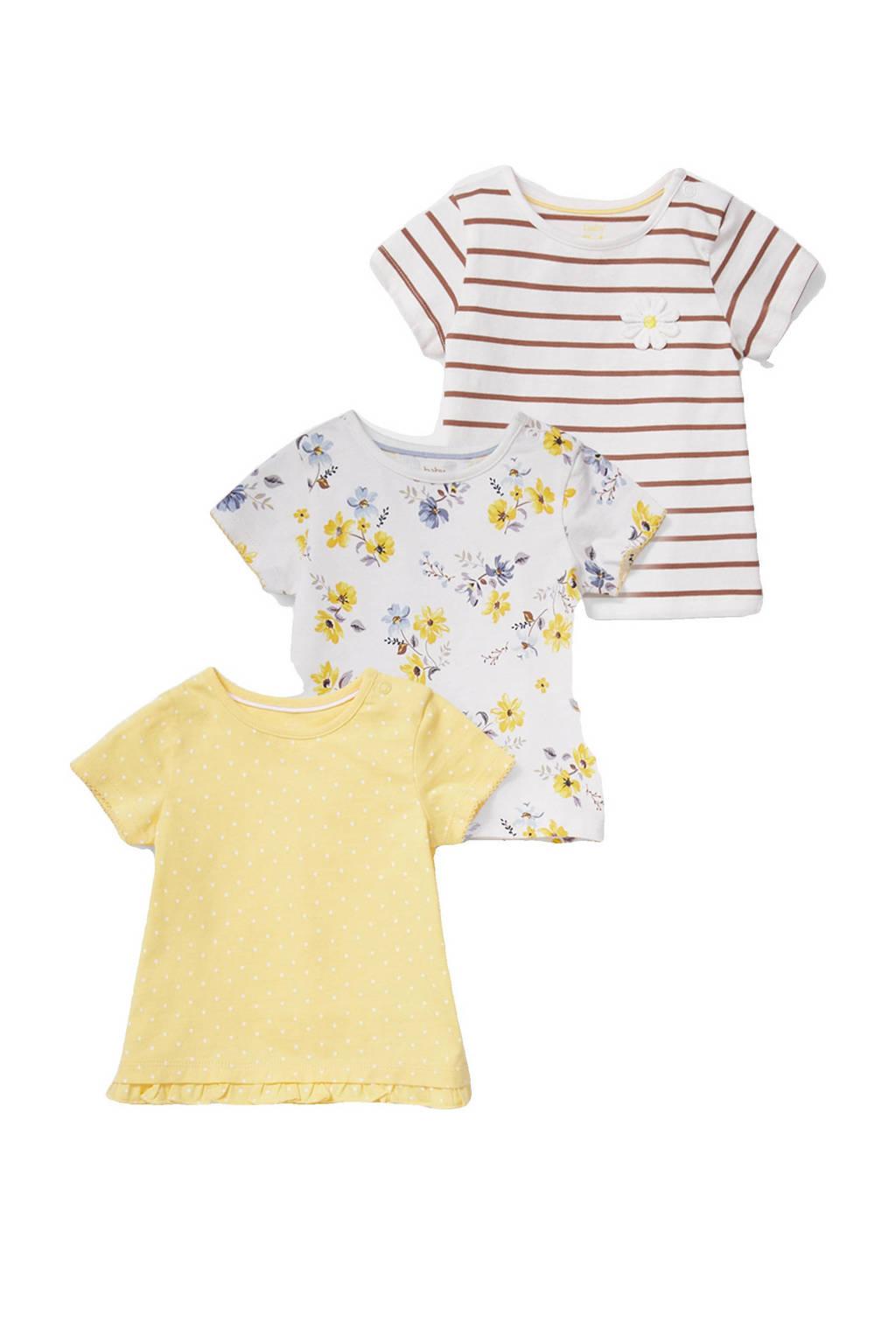 C&A Baby Club T-shirt - set van 3 all over print geel/wit/bruin, Geel/wit/bruin