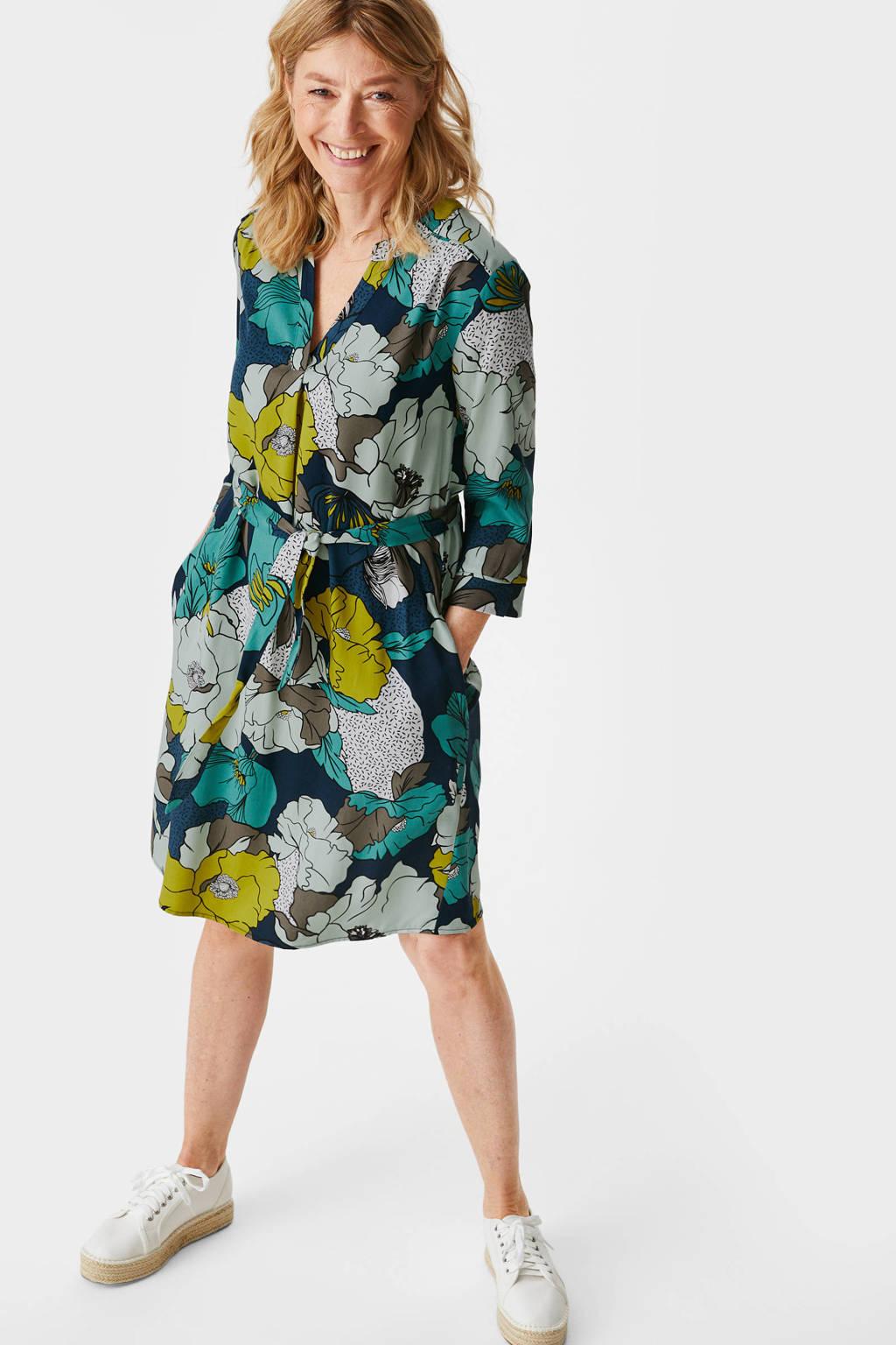 C&A Canda Premium jurk met all over print en ceintuur donkerblauw/geel, Donkerblauw/geel