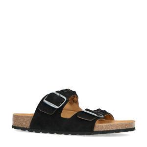 gevlochten suède slippers zwart