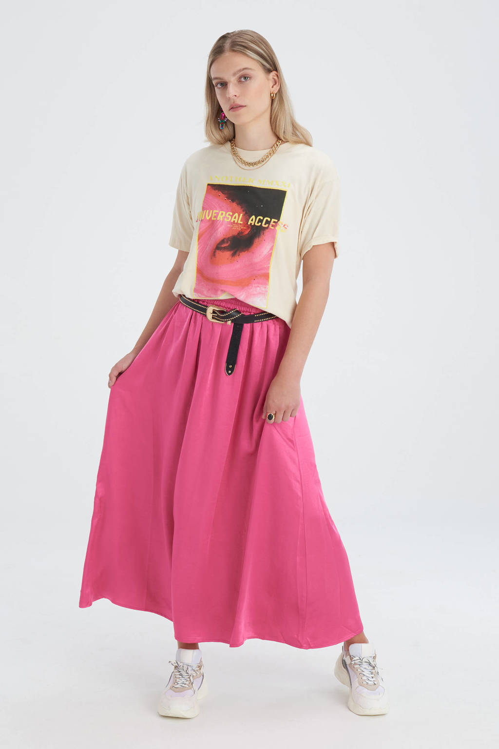 Eksept by Shoeby T-shirt Bowie Artwork met printopdruk zand, Zand