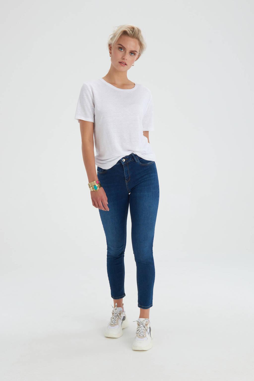 Shoeby Eksept cropped high waist skinny jeans Ametist donkerblauw, Donkerblauw