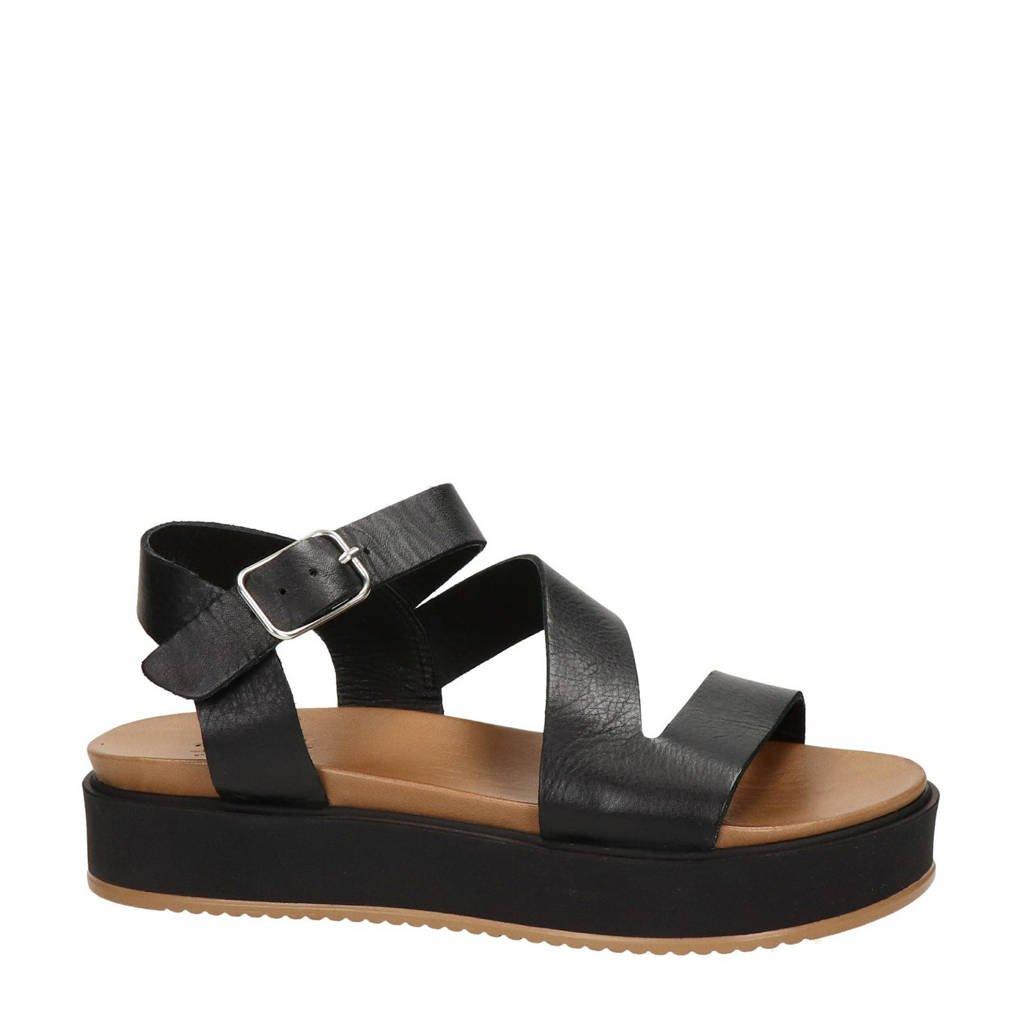 Nelson   leren plateau sandalen zwart, Zwart