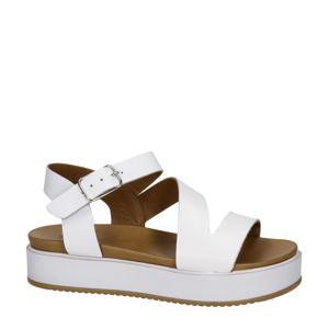 leren plateau sandalen wit