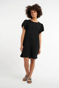 MS Mode jurk met volant zwart, Zwart