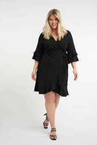 MS Mode overslagjurk met volant zwart, Zwart