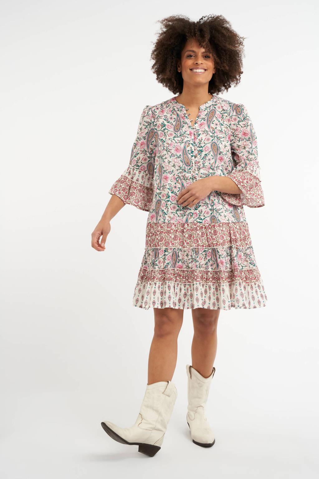 MS Mode A-lijn jurk met paisleyprint en ruches ecru/roze/petrol, Ecru/roze/petrol