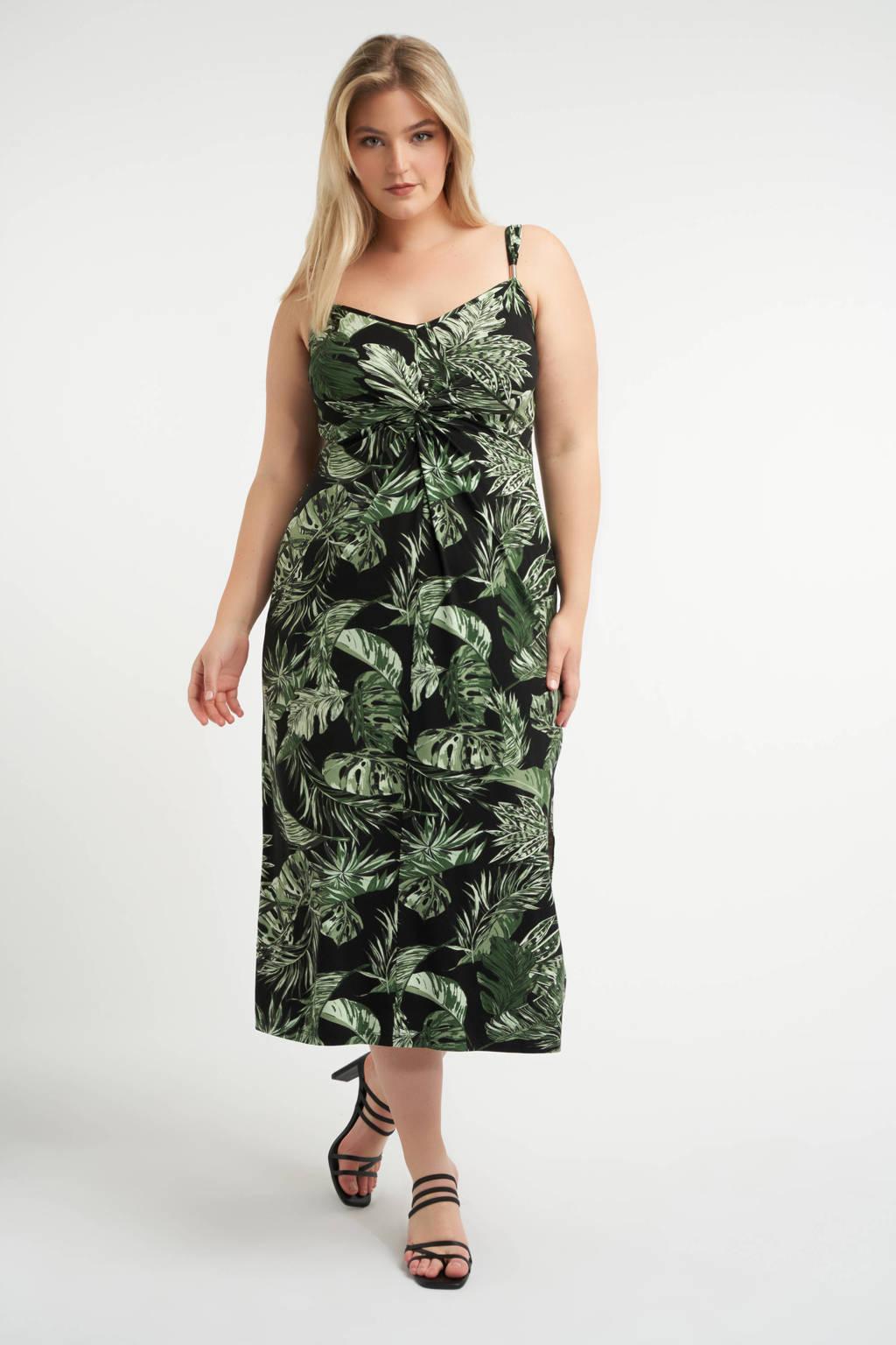 MS Mode jurk met bladprint en plooien zwart/groen, Zwart/groen