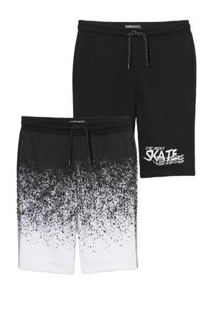 sweatshort - set van 2 zwart/wit