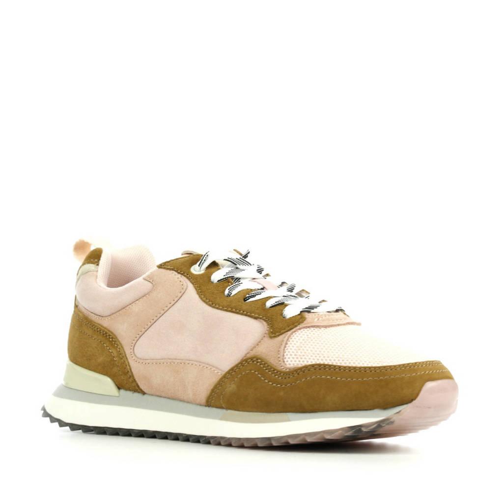 HOFF Brussels  suède sneakers roze/bruin, Roze/bruin