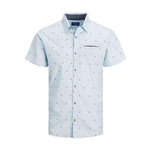 JACK & JONES ORIGINALS slim fit overhemd met all over print lichtblauw