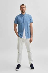 SELECTED HOMME slim fit overhemd met all over print blauw, Blauw