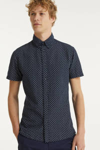 SELECTED HOMME slim fit overhemd met all over print donkerblauw, Donkerblauw