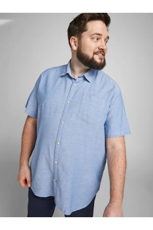regular fit overhemd Abel Plus Size met all over print blauw