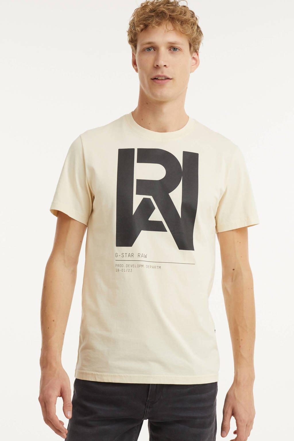 G-Star RAW T-shirt van biologisch katoen ecru, Ecru