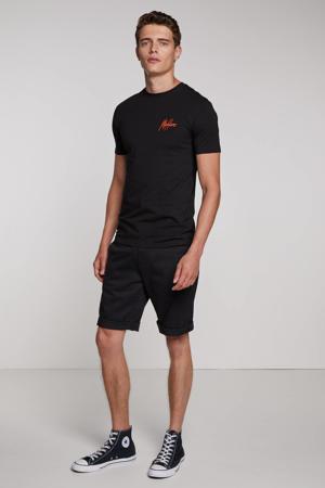 slim fit T-shirt met logo zwart/perzik