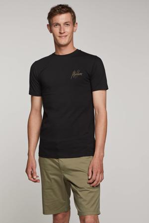 slim fit T-shirt met logo zwart/kaki