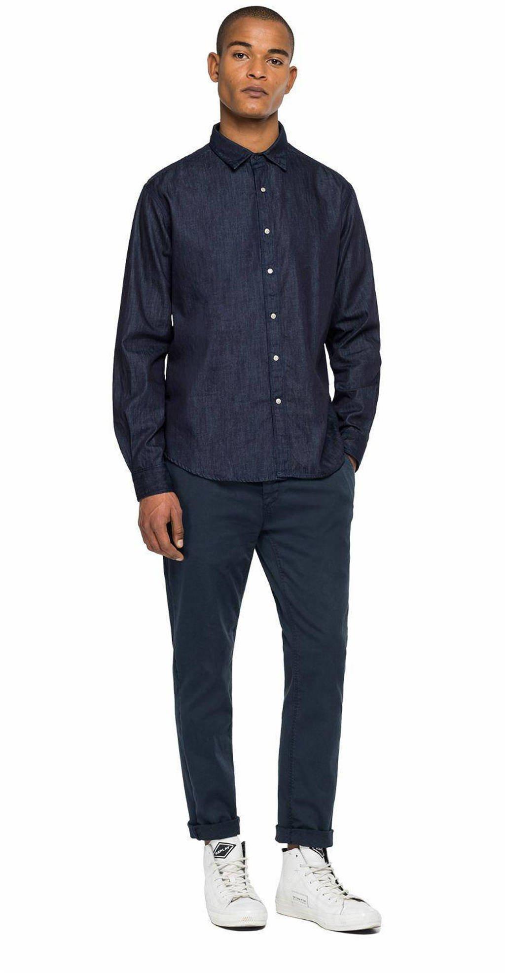 REPLAY regular fit denim overhemd AJAX THEME 007-dark blue, 007-DARK BLUE