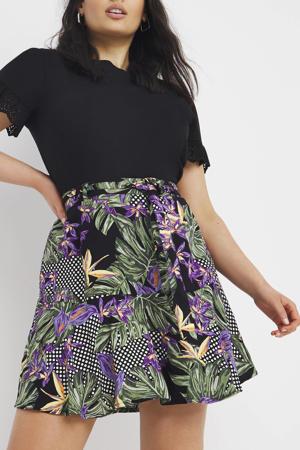 rok met all over print zwart/paars/groen