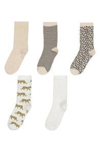 HEMA sokken - set van 5 beige/wit, Beige/wit