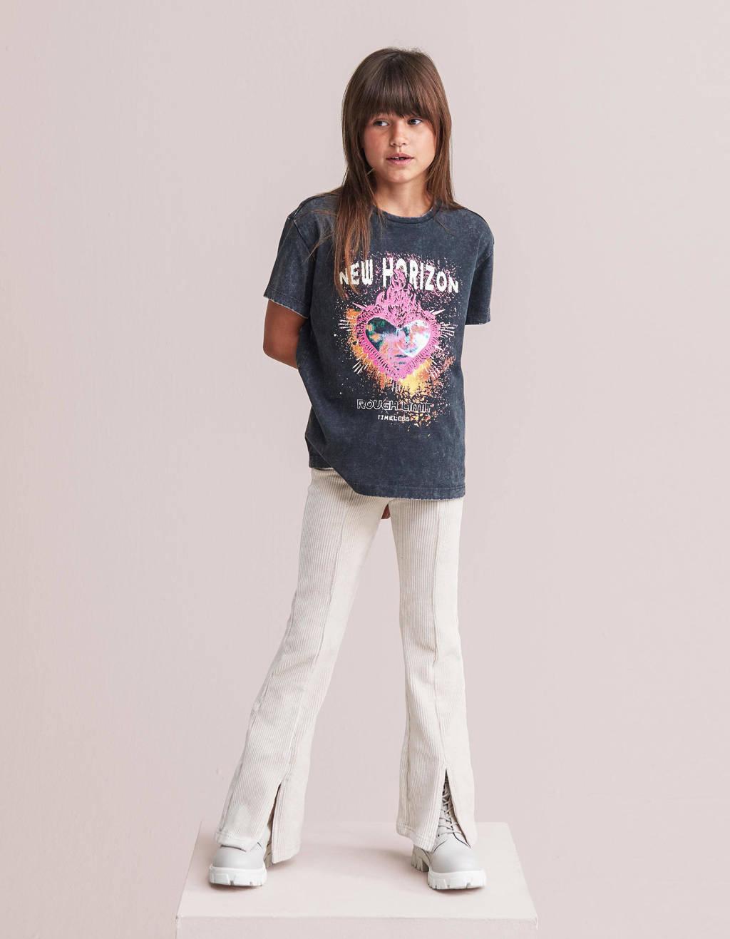 Shoeby Jill & Mitch T-shirt Bridget met printopdruk antraciet, Antraciet