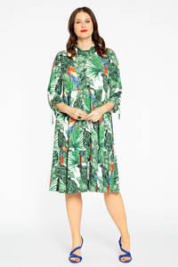 Yoek A-lijn jurk PARROT met bladprint en volant wit/groen/rood, Wit/groen/rood