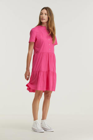 trapeze jurk met ruches roze