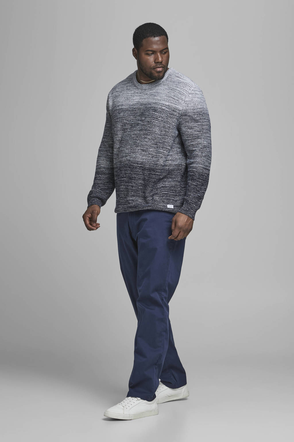 JACK & JONES PLUS SIZE slim fit broek JJIMARCO JJBOWIE Plus Size donkerblauw, Donkerblauw