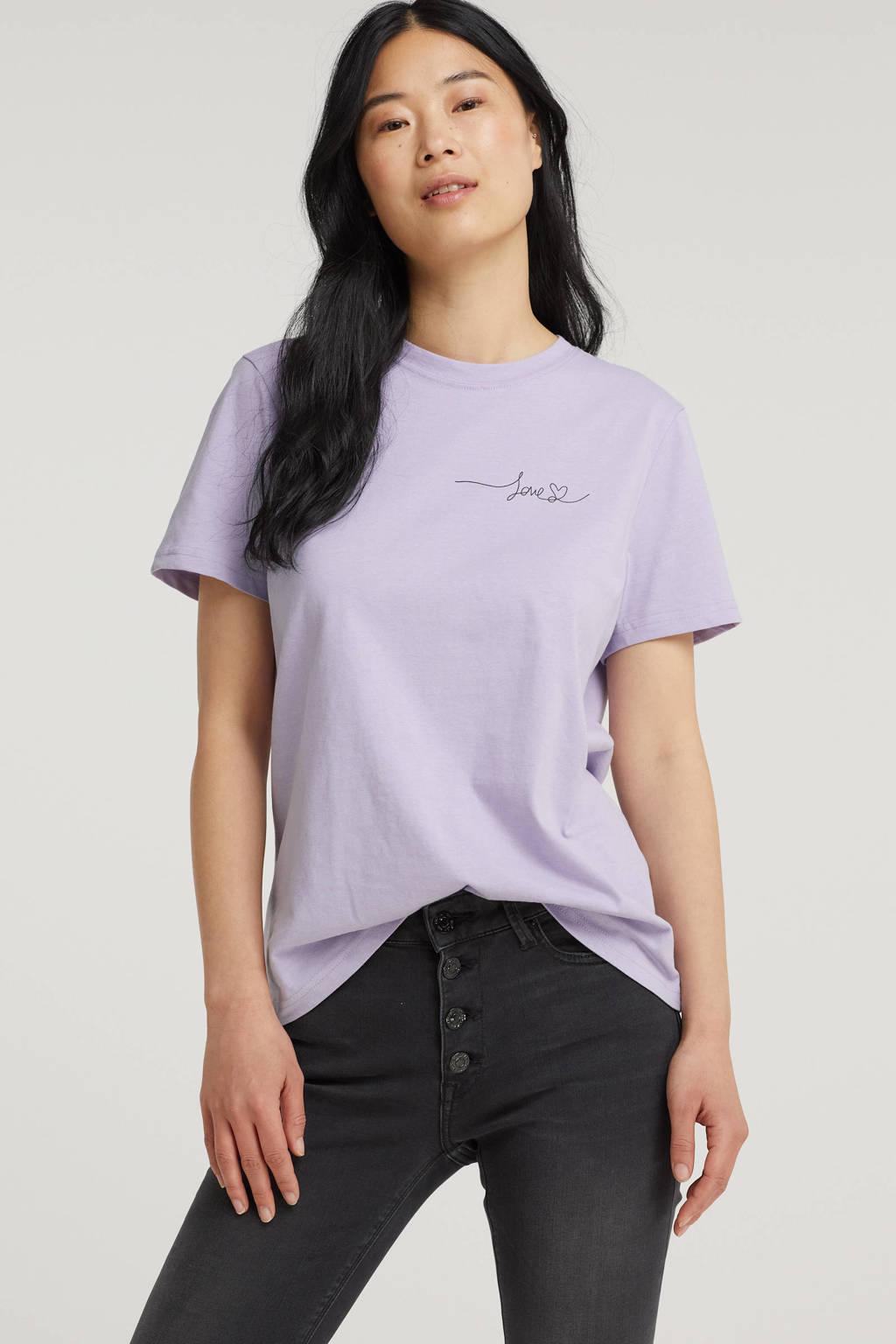 VILA T-shirt VIPURE van biologisch katoen lila, Lila