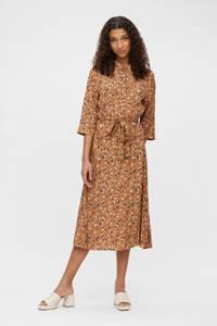 OBJECT jurk OBJNELLE met all over print bruin, Bruin
