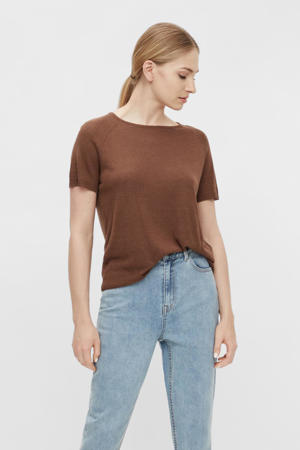 fijngebreid T-shirt OBJANGIE bruin
