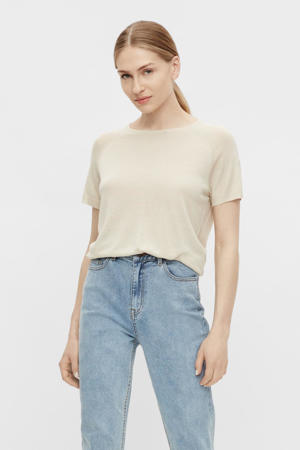 fijngebreid T-shirt OBJANGIE beige