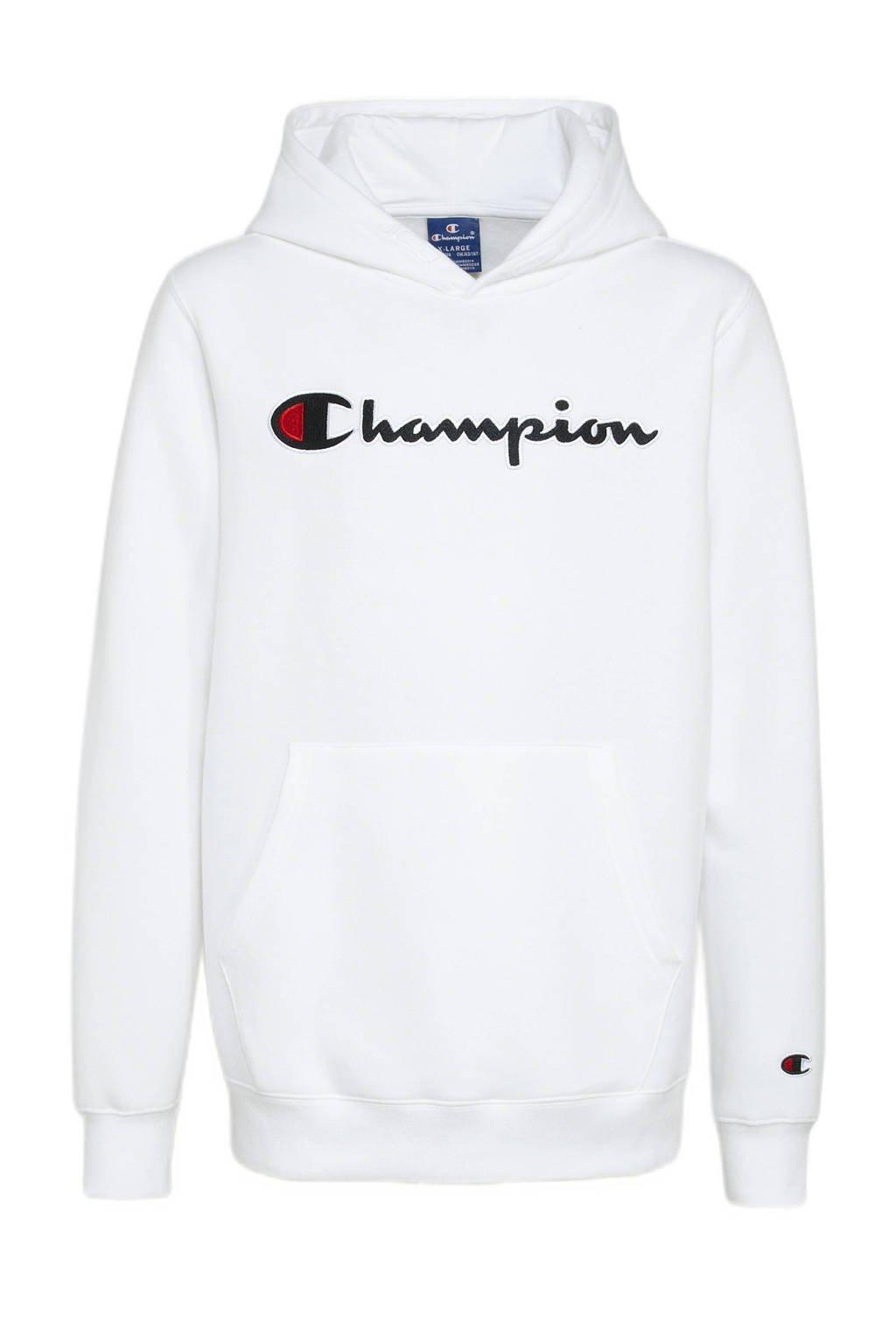Champion hoodie met logo wit, Wit
