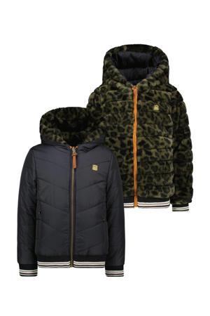 reversible imitatiebont winterjas met dierenprint donkerblauw/donkergroen