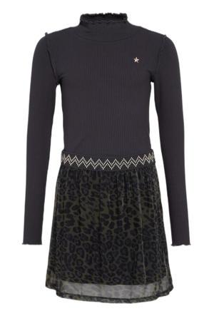 jurk met dierenprint donkerblauw/donkergroen
