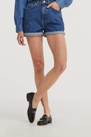 high waist mom jeans short blauw