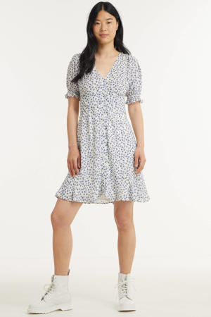 jurk met all over print en ruches blauw
