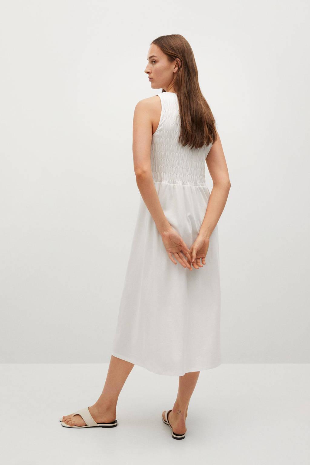 Mango jurk van biologisch katoen wit, Wit
