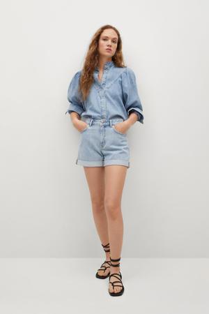 high waist jeans short light denim