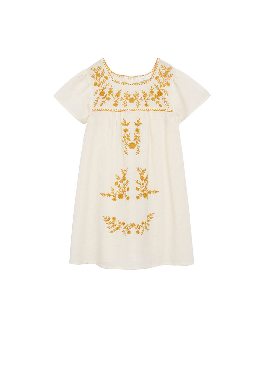 Mango Kids gebloemde A-lijn jurk naturel wit/geel, Naturel wit/geel