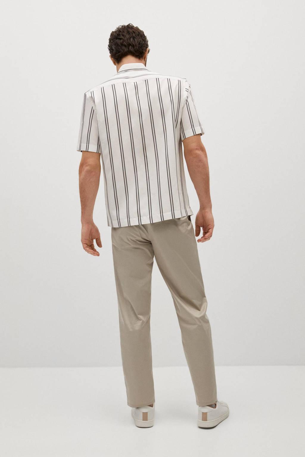 Mango Man gestreept regular fit overhemd wit, Wit