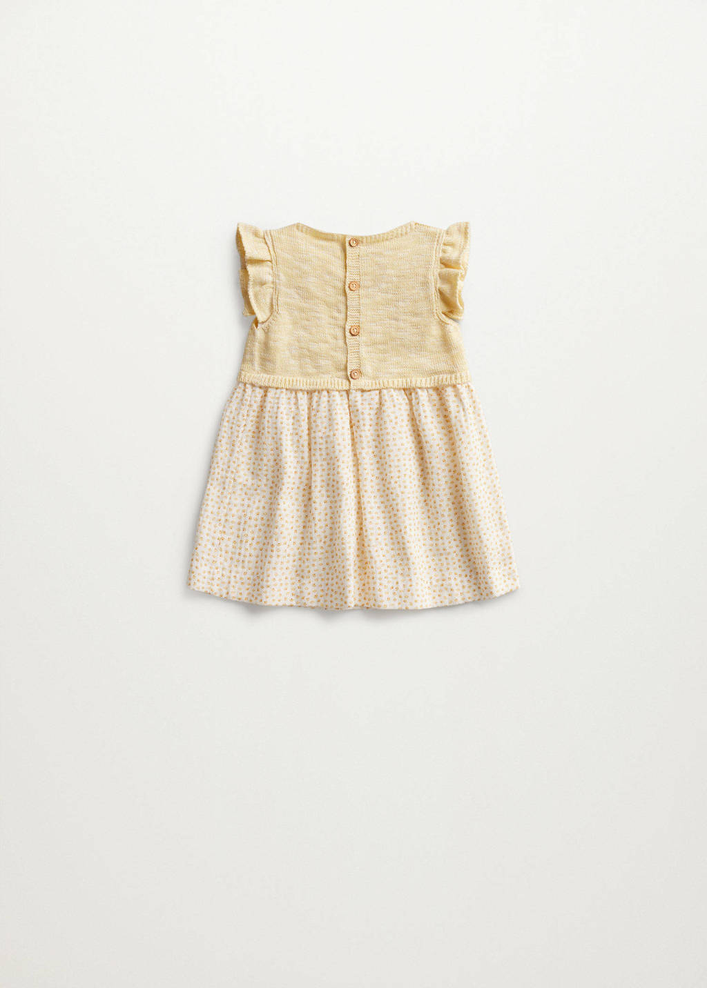 Mango Kids baby jurk met stippen en ruches geel, Geel